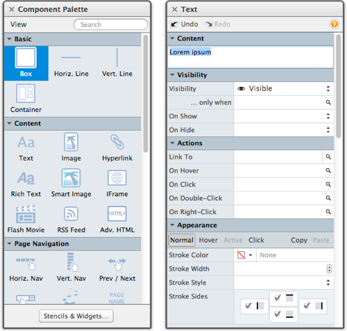 Component Palette (left) and Property Inspector (right) Windows