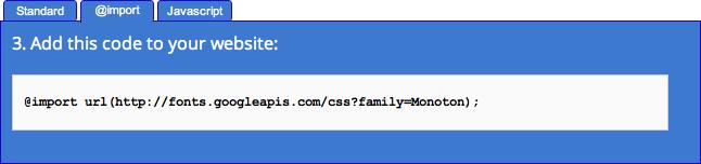 "Google Web Font ""Quick Usage"" Page"