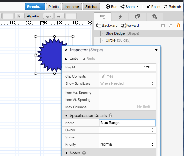 ProtoShare rename components in the Inspector