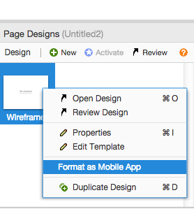 Mobile in the right-click menu for designs