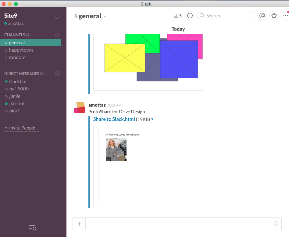 Add mockups and designs to your Slack channel.